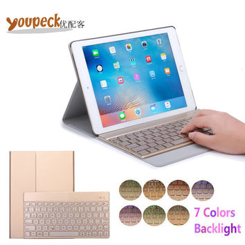 Ultra Thin Pu Leather Bluetooth Keyboard Case for Apple iPad Pro 9.7 inch Cover w/ 7 Colors Back light Wireless Bluetooth Keypad