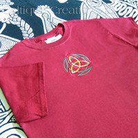 Celtic Trinity Knot Red T-shirt with Green and Gold Embroidery