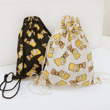 Women  Cartoon Printed Sackpack Lanyard Bag Casual Backpack Canvas Travel Bag Beach Bag Ladies School Cool bag