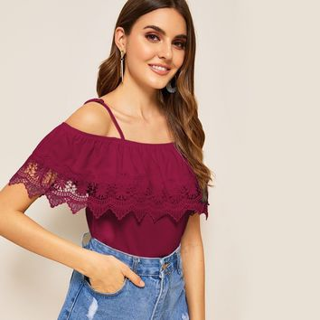Cold Shoulder Guipure Lace Trim Top