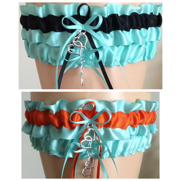 Aqua Blue Bridal Wedding Garter Set, Aqua Blue Prom Garter, Other Colors Available
