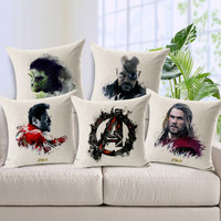 Avengers pillow cover, superhero cartoon Hulk Thor iron man Captain America Black widow throw pillow cushion cover