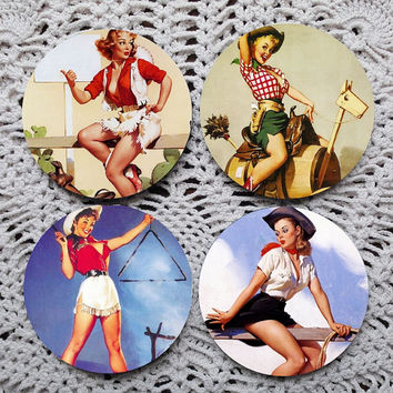 Cowgirl Cuties -- Vintage Style Pinups Mousepad Coaster Set