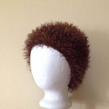 Handmade crochet Rabbit Hair Fuzzy Hat in brown, Brown beanie, Brown hat for kids, Elmo hat, wig hat