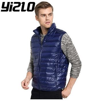 YIZLO Winter duck down vest Warm Ultralight Down Jackets Vests Men Solid Thin Winter Vest Male Lightweight Coats