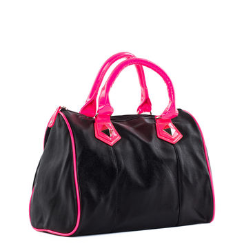 All About You Purse in Black/Neon Pink