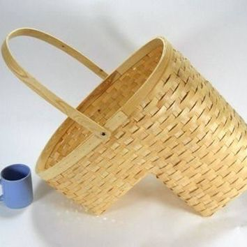 Large Stair Step Basket Wicker Woven Wood Honey Blonde w/ handle storage shoes