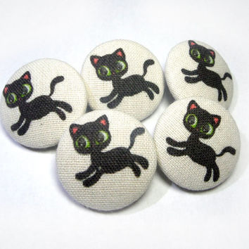 Black Cats Kitten Handmade children Fabric buttons, covered buttons, funny cat buttons, sewing buttons, sweater buttons, animal buttons