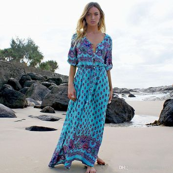 S-5XL Bohemian V-neck Maxi Long dress Women Floral Print Retro Hippie vestidos Clothing Boho Big Plus Size Casual Beach Summer Dresses