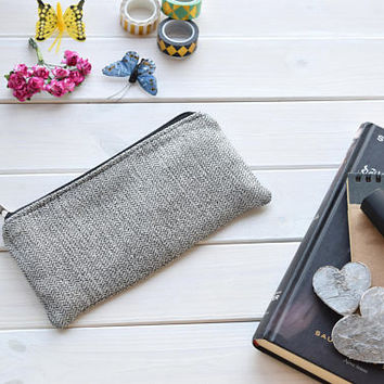 Pleated pencil pouch, Linen bag, pencil case, Cosmetic Pouch, Makeup Organizer, Bridesmaid Purse, Gift for her, Black