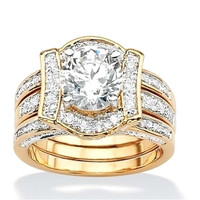 Ring Sets Silver Micro Pave  CZ engagement plated yellow gold wedding ring
