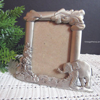 Vintage Pewter Picture Frame, Signed 3x2 Frame, Handmade Seagull Elephant Photo Frame by Etian Zinn