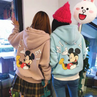 The new cotton velvet thicken wild Lovely Mickey printed zipper sweater women