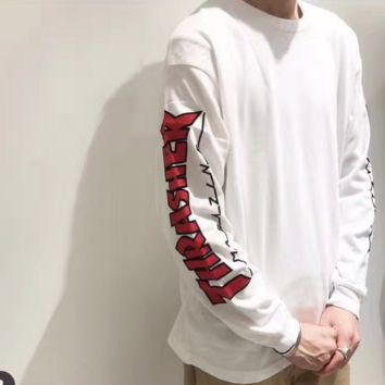 SUPREME Fashion Casual Print round collar Long Sleeve sweater