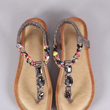 Liliana Jeweled Braided T-Strap Thong Flat Sandal