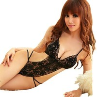 Amour-Sexy Lingerie Opaque Floral Pattern Black Lace Teddy Stripper (Regular Size, Black Lace)