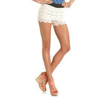 Tiered Crochet Lace Short: Charlotte Russe