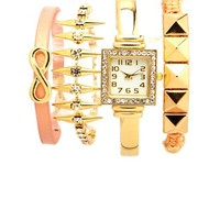RHINESTONE WATCH & BRACELETS, 4-PIECE SET