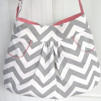 Chevron Purse Handbag, Large Hobo Bag, Diaper Bag, Gray Chevron, Pink Accents with 2 Deep FRONT Pockets, Quilted Lining, More Fabrics