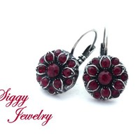 Swarovski® Crystal Cluster Flower Earrings, Siam and Ruby Red, Victorian Style, Multi Stone Drop Lever Back, Antique Silver, Gift Packaged