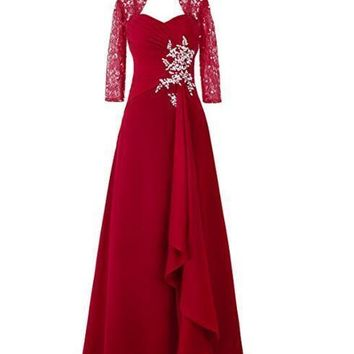 Fashion Plaza Women's Long Asymmetric Lace Flower Sleeves Mother of the Bride Dress