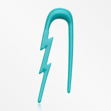 A Pair of Lightning Bolt Acrylic Ear Gauge Taper Hanger