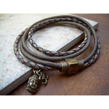 Om Bracelet Leather, Om Bracelet Men, Om Bracelet Womens, Mens Bracelets Leather, Buddha Bracelet Leather, Buddha Bracelet Men