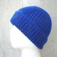 Glittery Beanie Hat, Bright Blue, Hand Knit, Women & Girls, Warm Winter