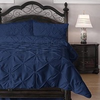 Emerson Pinch Pleat 4-Piece Lightweight Summer Comforter Set, Full, Navy Blue