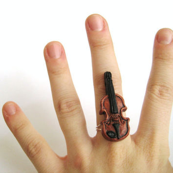 Violin Fiddle Music Ring Musician Jewelry Gift Neoclassical