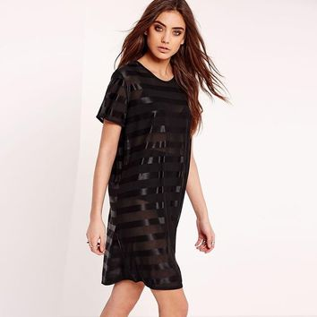 Sexy Dresses Semi Sheer and Solid Chiffon Stripe Shift Dres  Short Sleeve Patchwork Dress