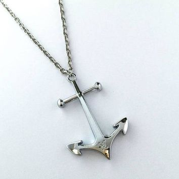 LV Woman Fashion Anchor Chain Plated Necklace
