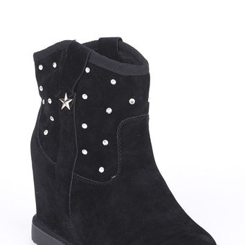 Diamante Studded Hidden Wedge Ankle Boots