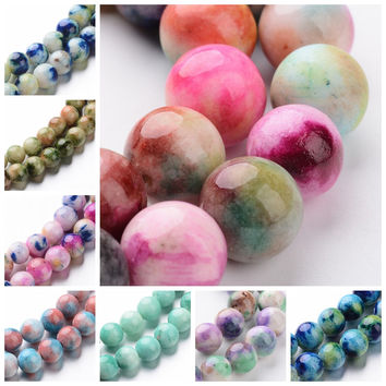 """4 6 8 10 12mm Jade Semi-precious Stone Camouflage Charm Beads Bulk 16"""" Dyed Natural White Jade Ball Loose Strands Round Colorful"""