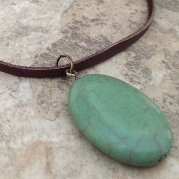 Brown Leather Necklace, Turquoise Necklace, Adjustable Leather Necklace, Slip Knot Leather Necklace