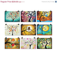 Whimsical Folk Art Prints ACEO - ATC Artist Trading Cards - Tree of Life Art Set of 9 Signed Black Friday Etsy Cyber Monday Etsy