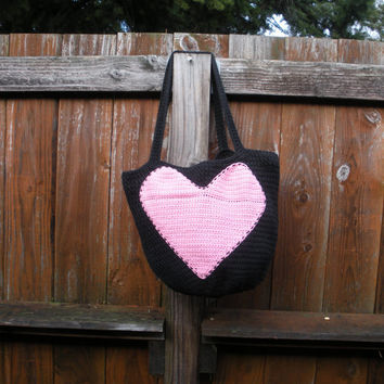 Valentine Crochet Cotton Reusable Shopping Bag Tote in by luvbuzz