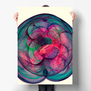 Fractal Art Print - Good Vibes Energy Spiralling in Cosmos - Psychedelic Poster, Digital Download | Apartment Wall Art Perfect Gift