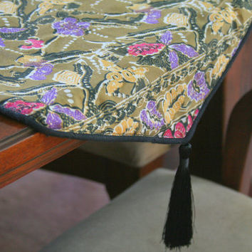 Table Runner, 30 inch Floor Cushions Or Lumbar Pillows, Bohemian Style Indonesian Batik Decor, Khaki Green With Lavender, Rose And Vanilla