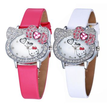 2017 New Arrival Cute Hello Kitty Baby Watch for Girls Kids Student Infantil Clock Fashion Cartoon Watch Hodinky Ceasuri