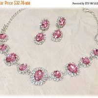 Wedding jewelry set, Pink necklace and earrings, vintage inspired pink rhinestone necklace statement, crystal jewelry set