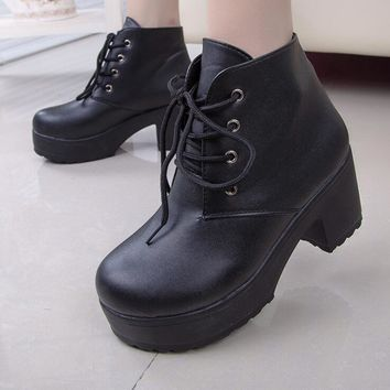 Fashion Women Thick Ankle Boots Cross Strap Martin Boot High Heels Punk Boot Chunky Heels Black
