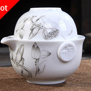 Kung Fu Tea set Include 1 Pot 1 Cup, High quality elegant gaiwan,Beautiful and easy teapot kettle.Coffee Cup. free shipping