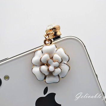 White Camellia cell phone strap  3D flower Dust by Gelivablegift