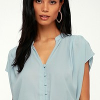 Carlton Light Blue Button-Up Top