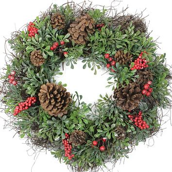 "24"" Glittered Artificial Boxwood  Pine Cone and Red Berry Christmas Wreath - Unlit"