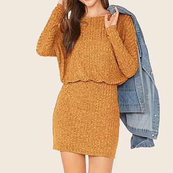 Batwing Sleeve Rib-knit Blouson Dress Women Boat Neck Long Sleeve Ladies Fitted Elegant Mini Dresses