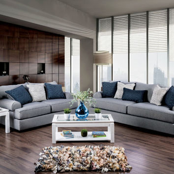 Furniture of america SM1271 2 pc gilda gray premium fabric sofa and love seat with goose feather blend pillows