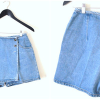 early 90s DENIM skort vintage GRUNGE mini jean shorts skirt size 26 27