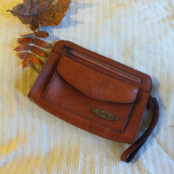 Brown Clutch Wristlet Ralfeaux Vintage Tan Purse With Embossed Faux Leather 2 Zippered and 1 Snap Pockets 1970's or 1980's Designer Handbag